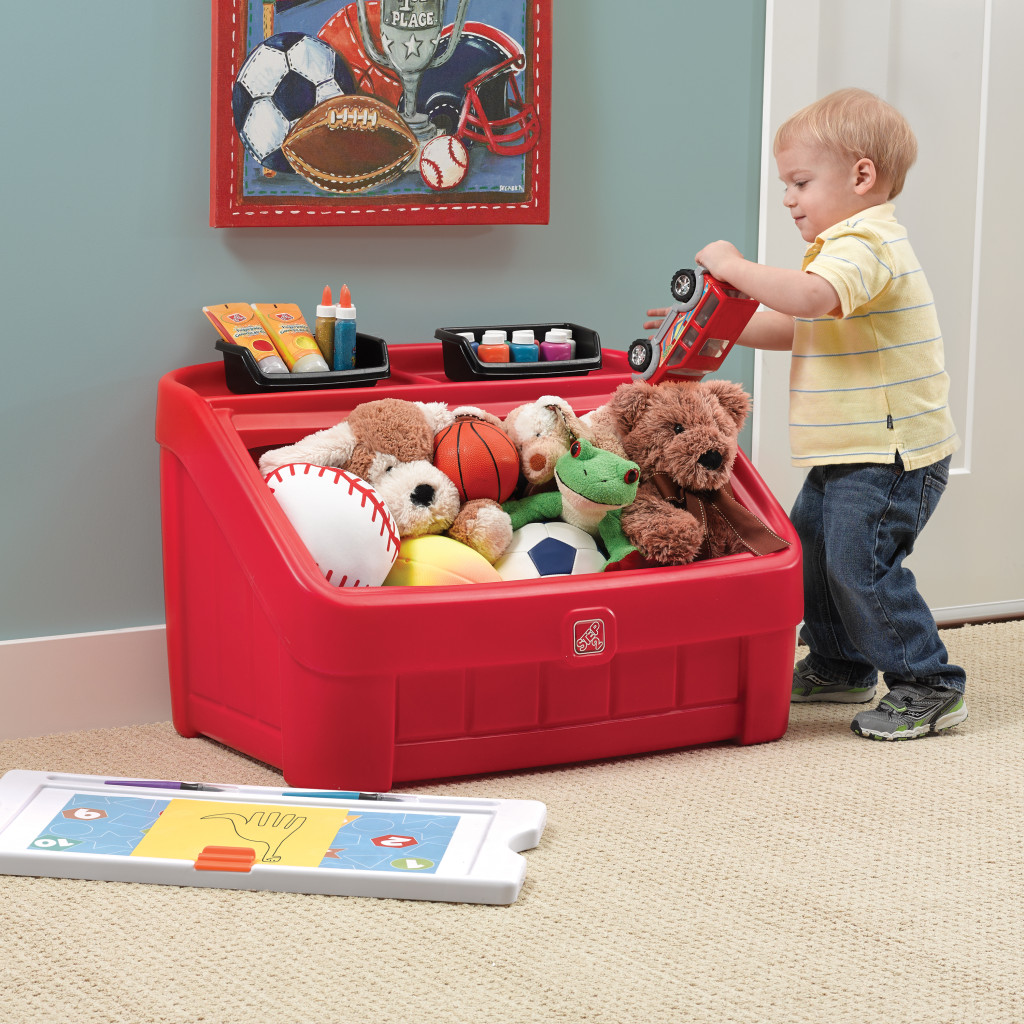 2-in-1-Toy-Box -Art-Lid-Red