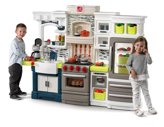This trendy play kitchen will have the kids occupied for hours!
