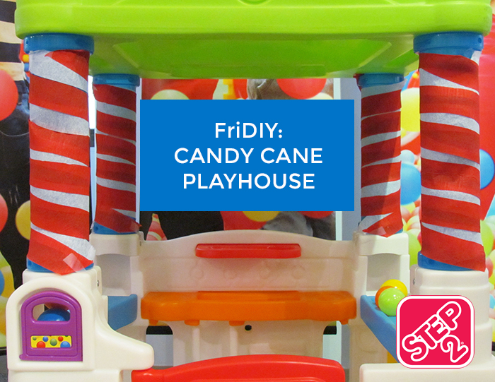 Creative Play | Have Mom Decorate the Step2 WonderBall Fun House and turn it into a Candy Cane Playhouse