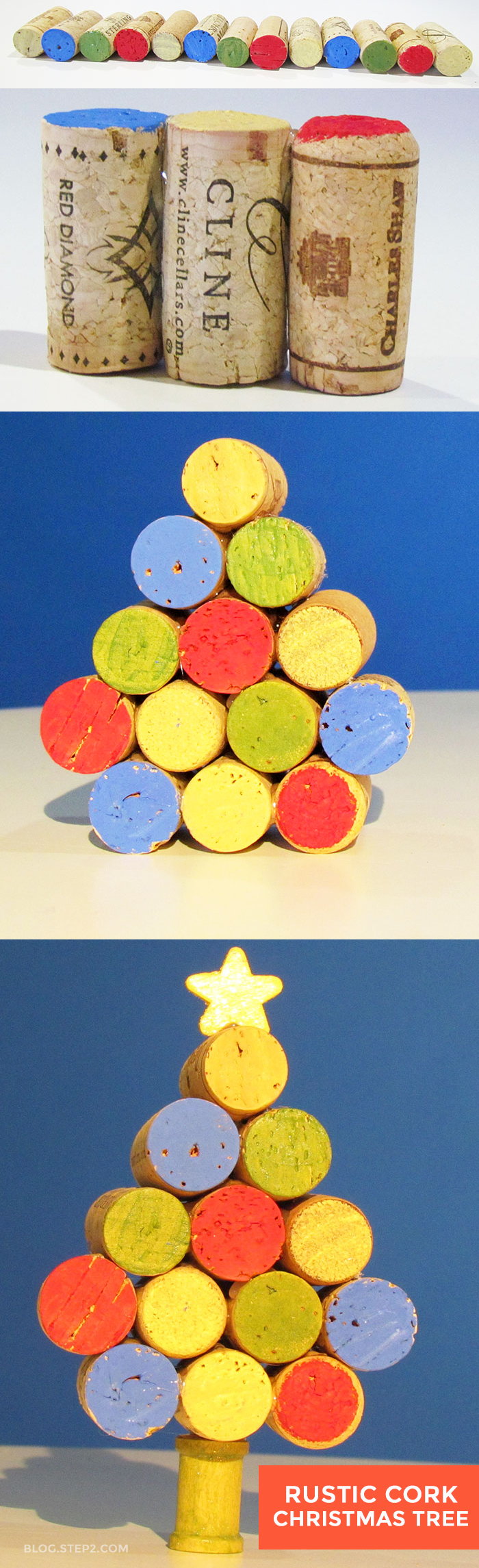 Looking for a fun and simple [parent] Christmas craft? Make a Rustic Cork Christmas Tree! Great for a teacher gift or holiday decor.