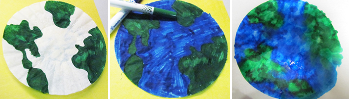 Earth Day Coffee Filter Craft Steps