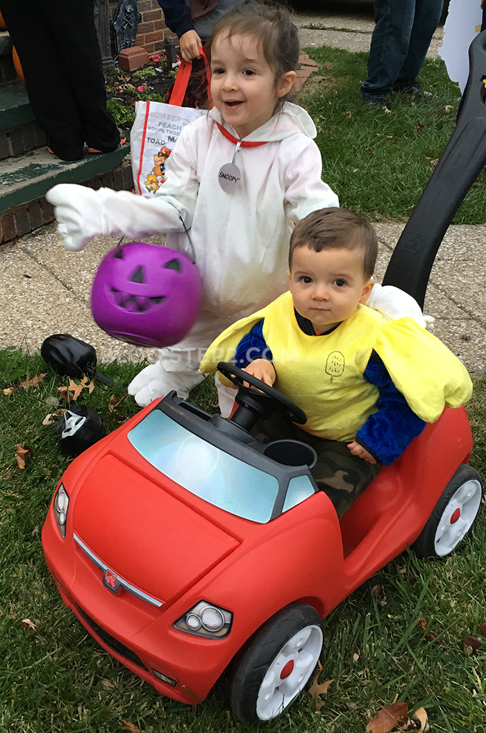 Trick-or-treating in the Step2 Easy Steer Sportster