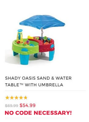 SHADY OASIS SAND & WATER PLAY TABLE WITH UMBRELLA