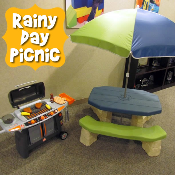 Kid's picnic table and play grill