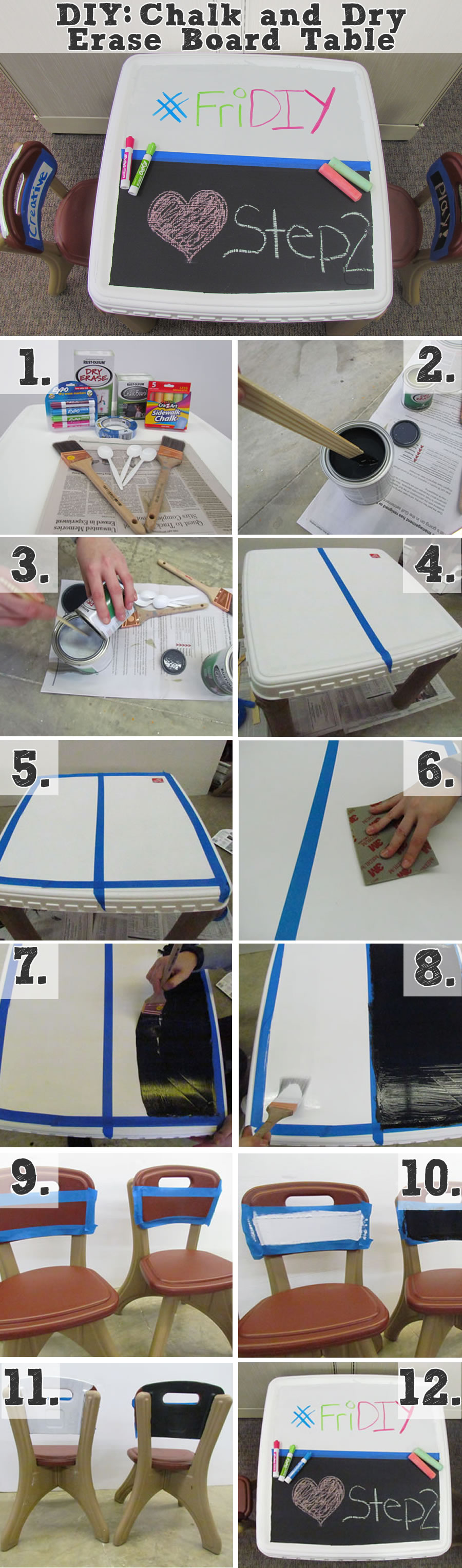 kid's chalk and dry erase board table