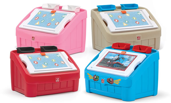 toy boxes and art lids