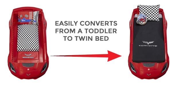 The Corvette® Z06 Toddler To Twin Bed Will Be A Big Time Hit With Parents  As This Kids Car Bed Easily Converts From A Toddler (crib) Size Bed Into A  Twin ...